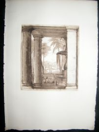 A. Dawson after Claude Lorrain 1885 Photogravure. Vista seen between columns